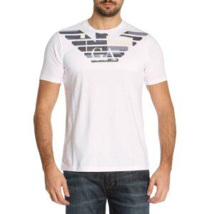 T-shirt bianca girocollo con grafica logo Emporio Armani