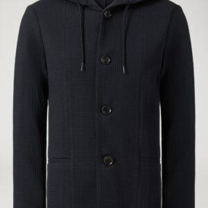 Giacca lana blu con cappuccio Emporio Armani