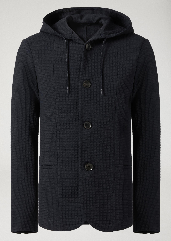outlet store 54450 c3113 Giacca lana blu con cappuccio Emporio Armani