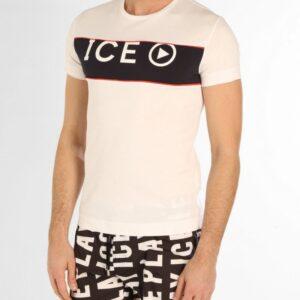 T-shirt bianca girocollo con logo Ice Play Iceberg