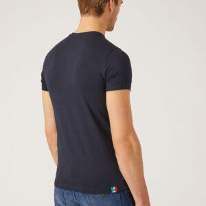 T-shirt blu con logo tricolore Emporio Armani