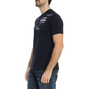T-shirt blu girocollo con grafica logo Emporio Armani