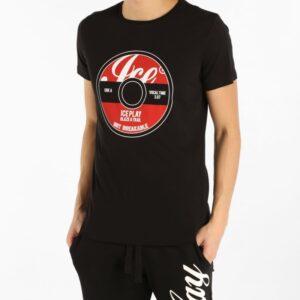 T-shirt nera girocollo ampio con stampa Ice Play Iceberg