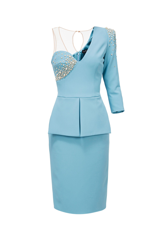 927cb219f850 Abito con perle Elisabetta Franchi - Blu Moda Fashion Team