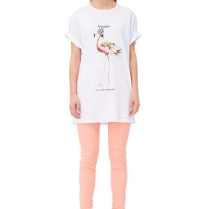 T-shirt lunga con stampa Elisabetta Franchi