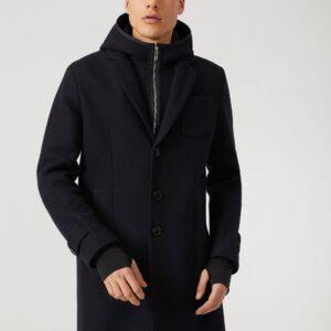Cappotto in panno tecnico con cappuccio pettorina con zip e polsini emporio armani