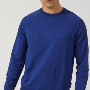 Felpa bluette in cotone stretch con logo in rilievo Emporio Armani