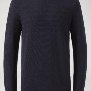 Maglione girocollo blu con logo ricamato Emporio Armani