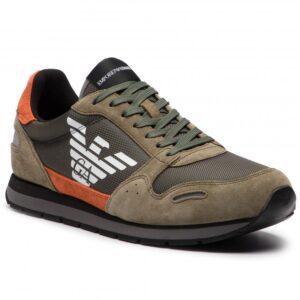 sneakers in pelle scamosciata con logo emporio armani