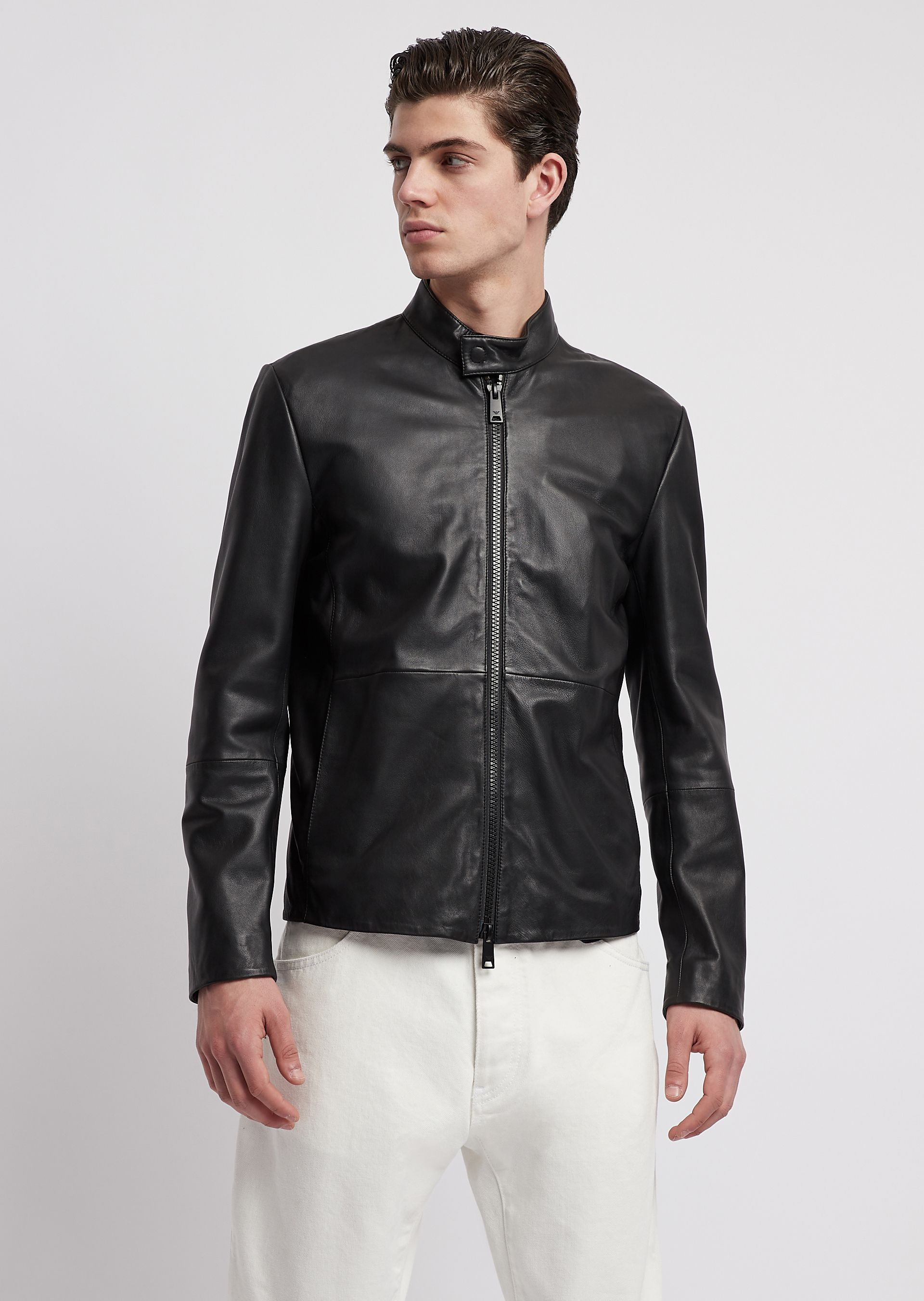 official photos 57095 33caa Giacca biker in pelle Emporio Armani