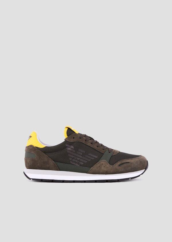 sneakers in pelle scamosciata emporio armani