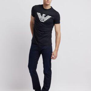 T-shirt blu con logo stampato Emporio Armani