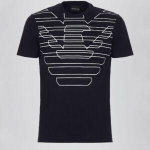 T-shirt blu logo stampato Emporio Armani