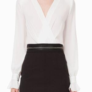 Camicia bianca a body con maniche arricciate Elisabetta Franchi