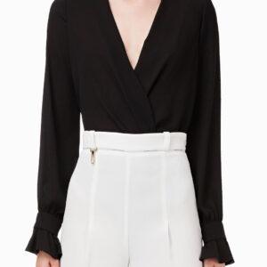 Camicia nera a body con maniche arricciate Elisabetta Franchi