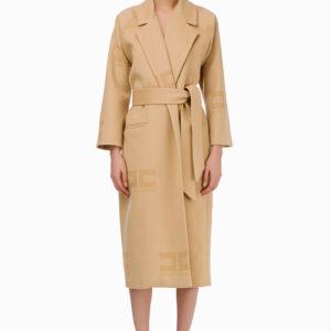 Cappotto logato con fusciacca Elisabetta Franchi