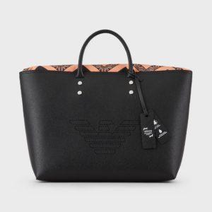 borsa in pelle nera Emporio Armani