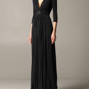 abito nero lungo con ricamo in vita Elisabetta Franchi