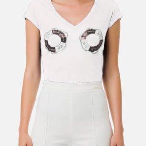 T-shirt bianca con stampa salvagenti Elisabetta Franchi
