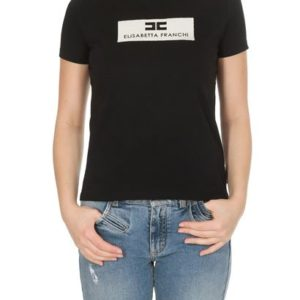 T-shirt nera con logo Elisabetta Franchi