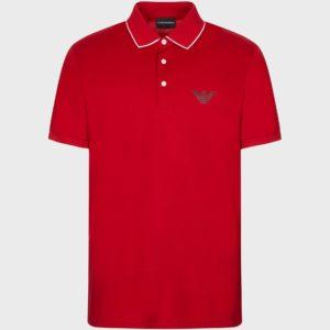Polo rossa con logo Emporio Armani