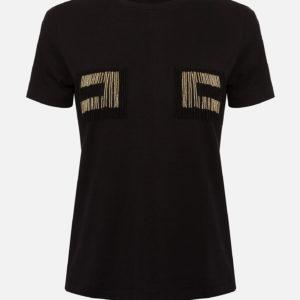 T-shirt con logo perline Elisabetta Franchi