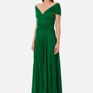 Abito verde lungo plissettato Elisabetta Franchi