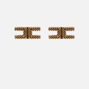 Orecchini logo in oro Elisabetta Franchi