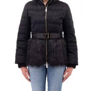 Piumino con pelliccia e cintura Elisabetta Franchi