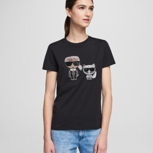 T-shirt iconic nera Karl Lagerfeld