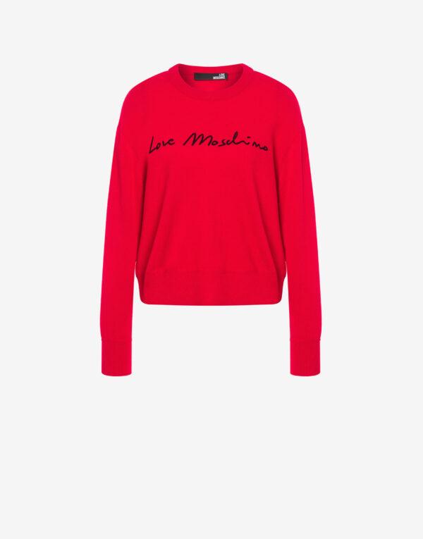 Pullover rosso firma Love Moschino