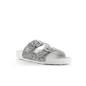 Ciabatte argento Love Moschino