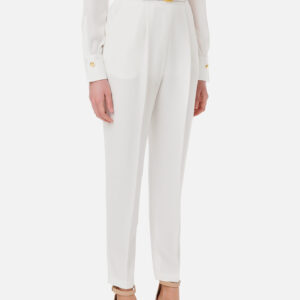 Pantalone avorio con cintura Elisabetta Franchi